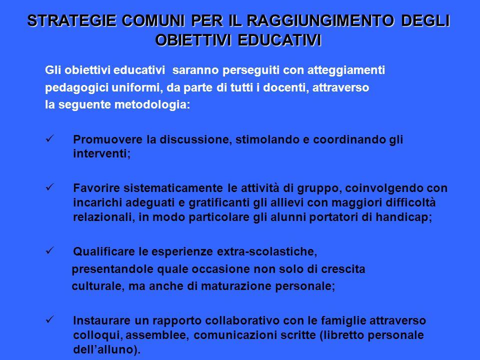 STRATEGIE COMUNI PER IL RAGGIUNGIMENTO DEGLI OBIETTIVI EDUCATIVI Gli obiettivi educativi saranno perseguiti con atteggiamenti pedagogici uniformi, da