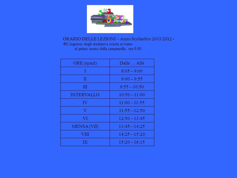 ORARIO DELLE LEZIONI – Anno Scolastico 2011/2012 - Lingresso degli studenti a scuola avviene al primo suono della campanella, ore 8:00. ORE (spazi)Dal