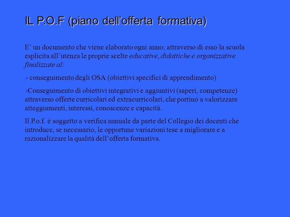 IL P.O.F (piano dellofferta formativa) E un documento che viene elaborato ogni E un documento che viene elaborato ogni anno; attraverso di esso la scu