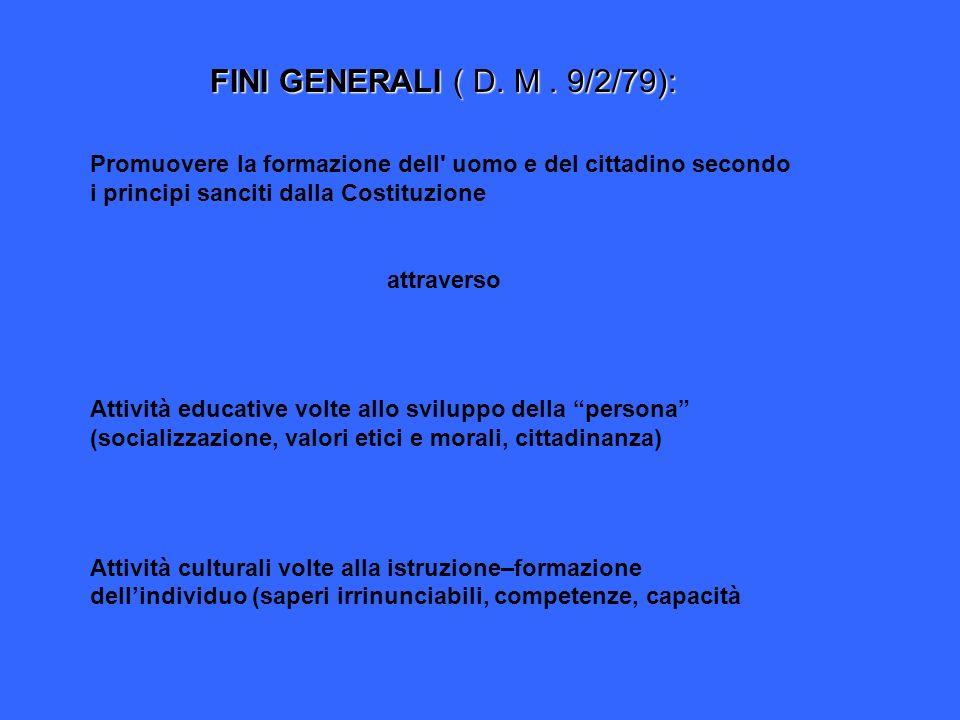 FINI GENERALI ( D. M. 9/2/79): Promuovere la formazione dell' uomo e del cittadino secondo i principi sanciti dalla Costituzione attraverso Attività e