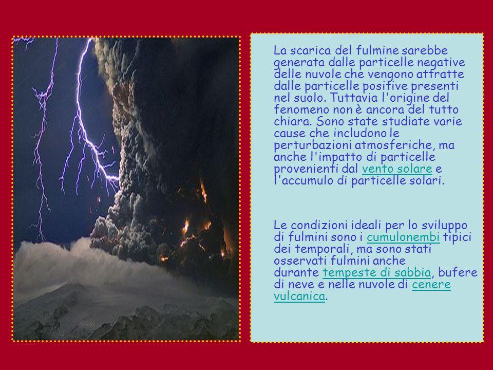 Anche le particelle di ghiaccio all interno della nuvola sono ritenute essere un elemento fondamentale nello sviluppo dei fulmini, in quanto possono provocare la separazione forzata delle particelle con cariche positive e negative, contribuendo così all innesco della scarica elettrica.
