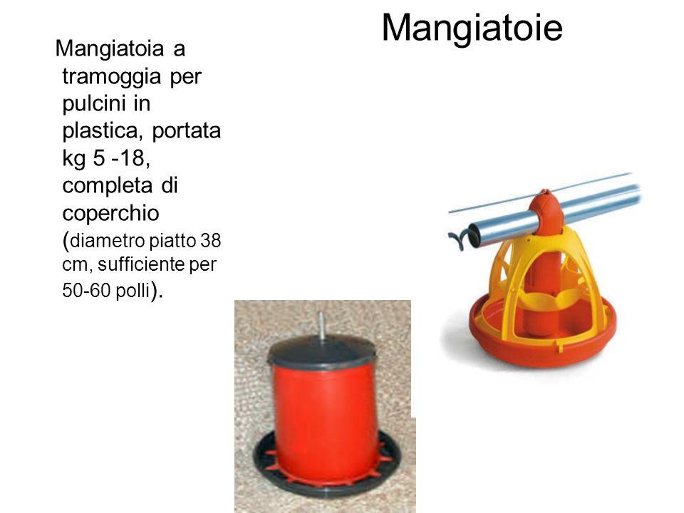 Mangiatoie Mangiatoia a tramoggia per pulcini in plastica, portata kg 5 -18, completa di coperchio ( diametro piatto 38 cm, sufficiente per 50-60 poll