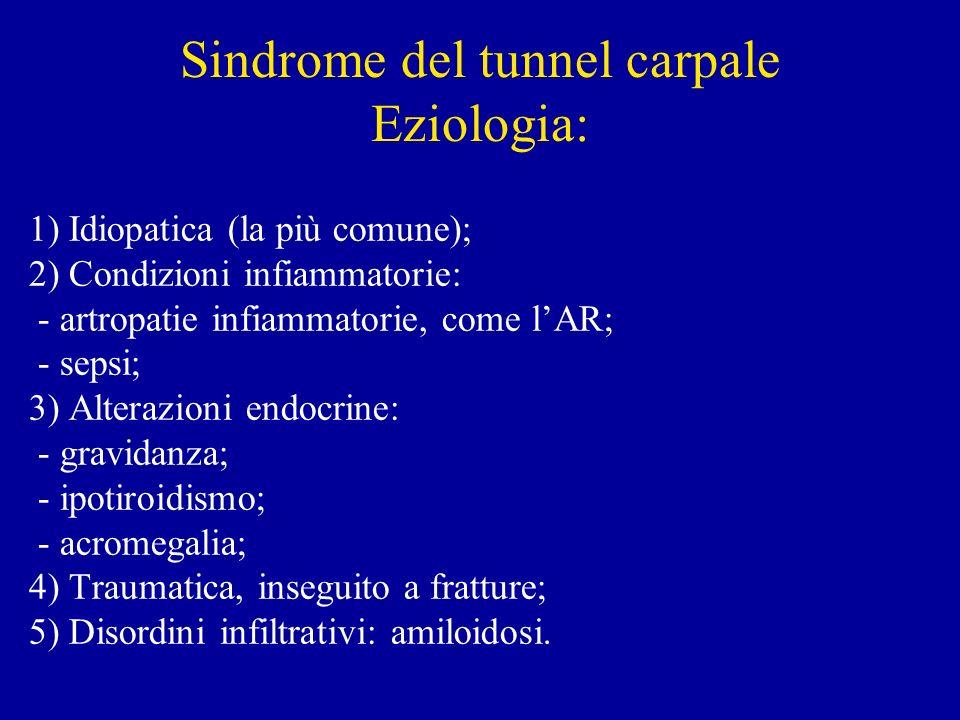 Sindrome del tunnel carpale Eziologia: 1) Idiopatica (la più comune); 2) Condizioni infiammatorie: - artropatie infiammatorie, come lAR; - sepsi; 3) A