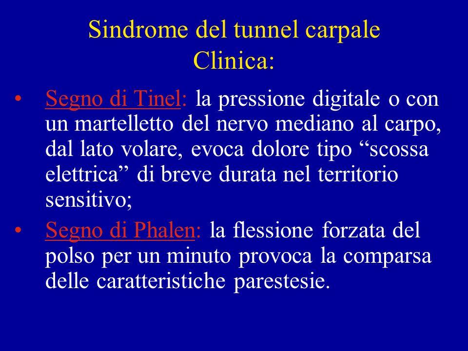 Sindrome del tunnel carpale Clinica: Segno di Tinel: la pressione digitale o con un martelletto del nervo mediano al carpo, dal lato volare, evoca dol