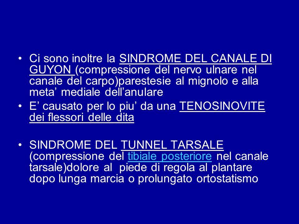 Ci sono inoltre la SINDROME DEL CANALE DI GUYON (compressione del nervo ulnare nel canale del carpo)parestesie al mignolo e alla meta mediale dellanul
