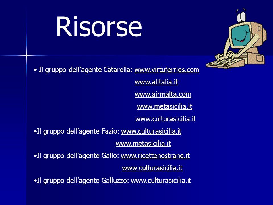 Risorse Il gruppo dellagente Catarella: www.virtuferries.comwww.virtuferries.com www.alitalia.it www.airmalta.com www.metasicilia.it www.culturasicilia.it Il gruppo dellagente Fazio: www.culturasicilia.itwww.culturasicilia.it www.metasicilia.it Il gruppo dellagente Gallo: www.ricettenostrane.itwww.ricettenostrane.it www.culturasicilia.it Il gruppo dellagente Galluzzo: www.culturasicilia.it