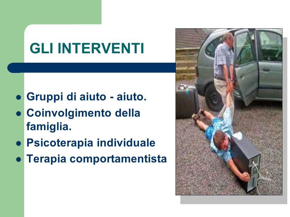 GLI INTERVENTI Gruppi di aiuto - aiuto. Coinvolgimento della famiglia. Psicoterapia individuale Terapia comportamentista
