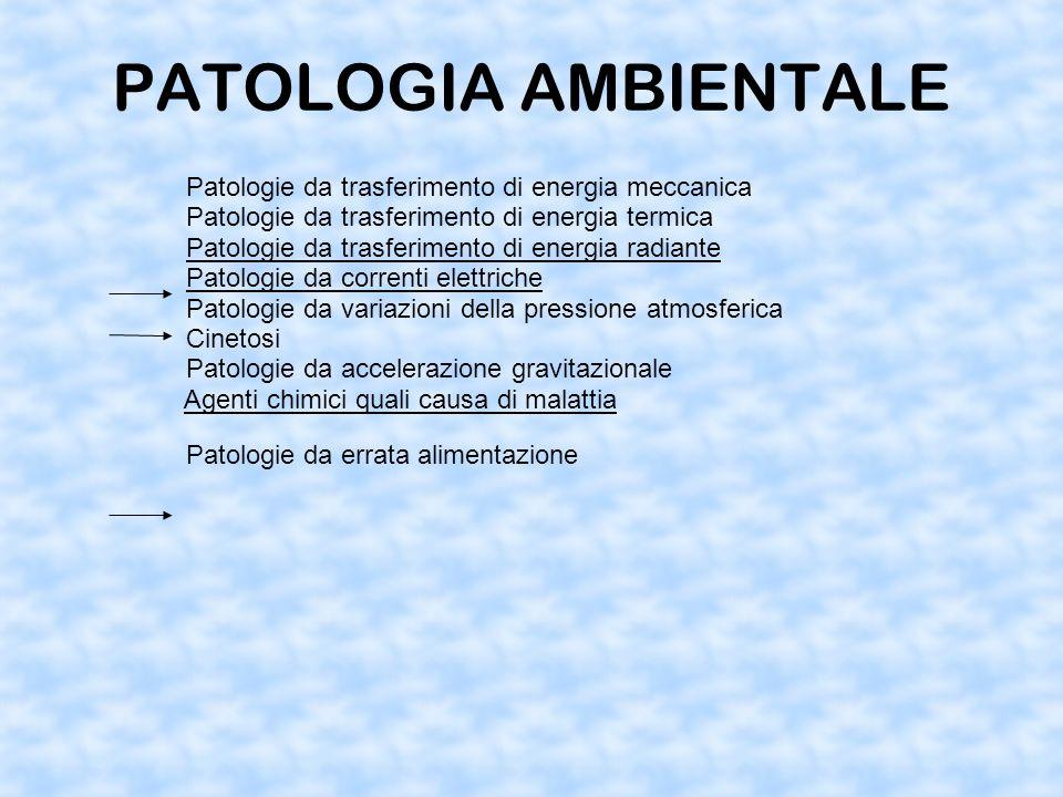 PATOLOGIA AMBIENTALE Patologie da trasferimento di energia meccanica Patologie da trasferimento di energia termica Patologie da trasferimento di energia radiante Patologie da correnti elettriche Patologie da variazioni della pressione atmosferica Cinetosi Patologie da accelerazione gravitazionale Agenti chimici quali causa di malattia Patologie da errata alimentazione