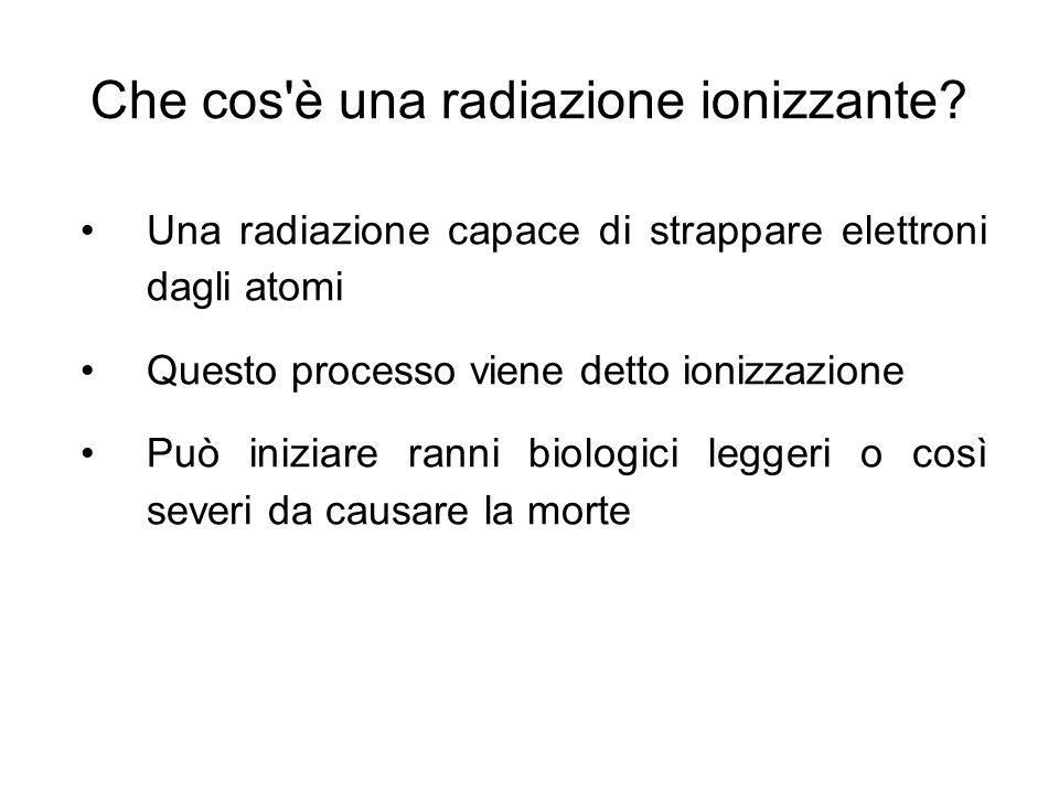 Che cos è una radiazione ionizzante.