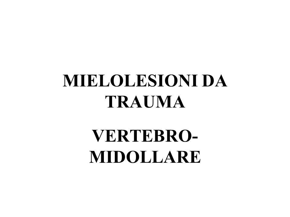 EPIDEMIOLOGIA Attualmente le maggiori cause di TVM sono dovute ad incidenti stradali, mentre 30-40 fa erano dovute ad incidenti sul lavoro.