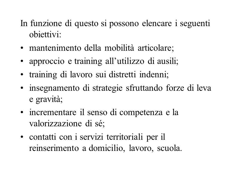 In funzione di questo si possono elencare i seguenti obiettivi: mantenimento della mobilità articolare; approccio e training allutilizzo di ausili; tr