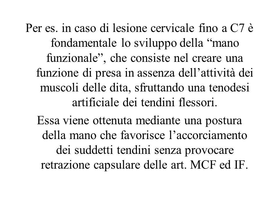 Per es. in caso di lesione cervicale fino a C7 è fondamentale lo sviluppo della mano funzionale, che consiste nel creare una funzione di presa in asse