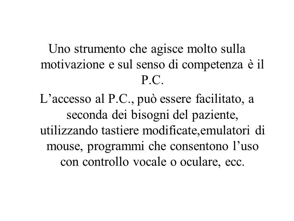 Uno strumento che agisce molto sulla motivazione e sul senso di competenza è il P.C. Laccesso al P.C., può essere facilitato, a seconda dei bisogni de