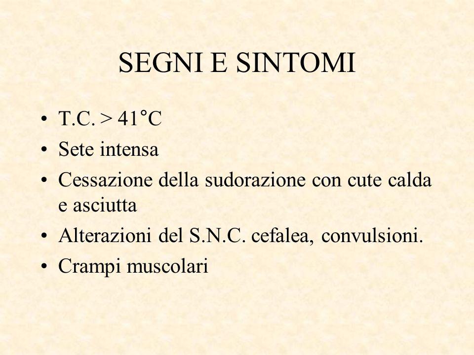 SEGNI E SINTOMI T.C. > 41°C Sete intensa Cessazione della sudorazione con cute calda e asciutta Alterazioni del S.N.C. cefalea, convulsioni. Crampi mu