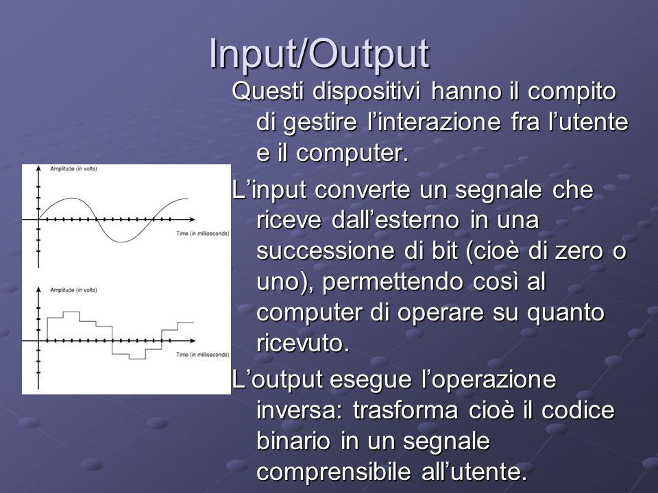 Input/Output Questi dispositivi hanno il compito di gestire linterazione fra lutente e il computer. Linput converte un segnale che riceve dallesterno