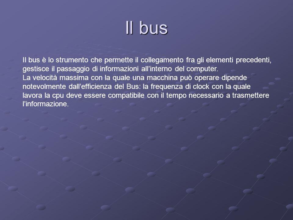 Il bus Il bus è lo strumento che permette il collegamento fra gli elementi precedenti, gestisce il passaggio di informazioni allinterno del computer.