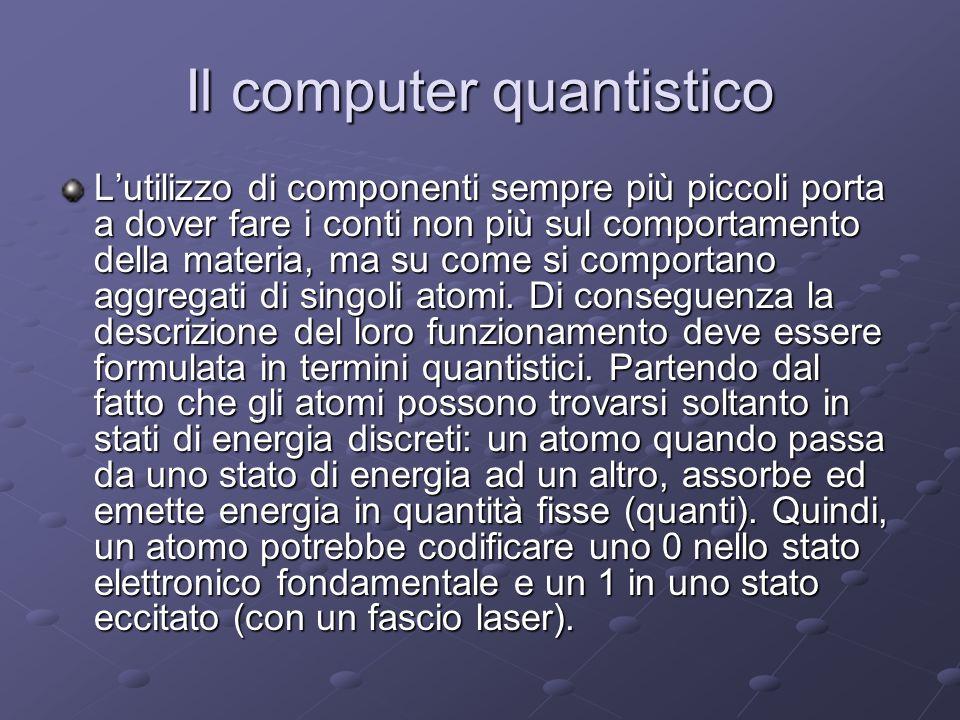 Il computer quantistico Lutilizzo di componenti sempre più piccoli porta a dover fare i conti non più sul comportamento della materia, ma su come si c