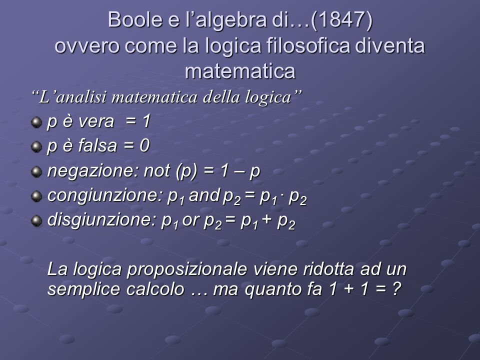 Il teorema di incompletezza di Godel (1931) In ogni formalizzazione coerente della matematica che sia sufficientemente potente da poter assiomatizzare la teoria elementare dei numeri naturali vale a dire, sufficientemente potente da definire la struttura dei numeri naturali dotati delle operazioni di somma e prodotto è possibile costruire una proposizione sintatticamente corretta che non può essere né dimostrata né confutata all interno dello stesso sistema (1° teorema di Godel) coerenteassiomatizzare numeri naturalicoerenteassiomatizzare numeri naturali