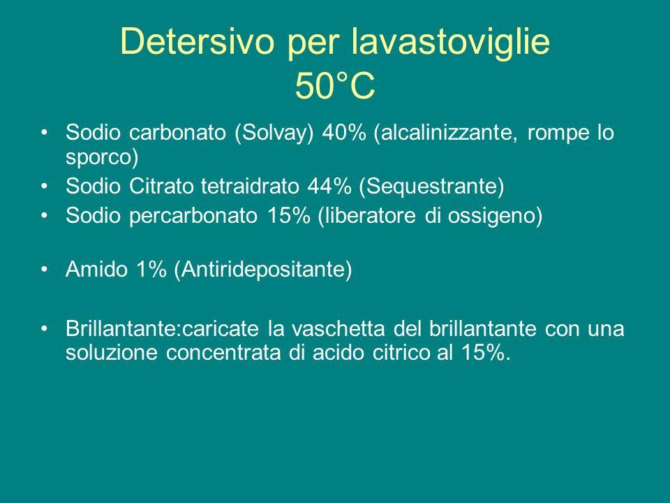 Detersivo per lavastoviglie 50°C Sodio carbonato (Solvay) 40% (alcalinizzante, rompe lo sporco) Sodio Citrato tetraidrato 44% (Sequestrante) Sodio per