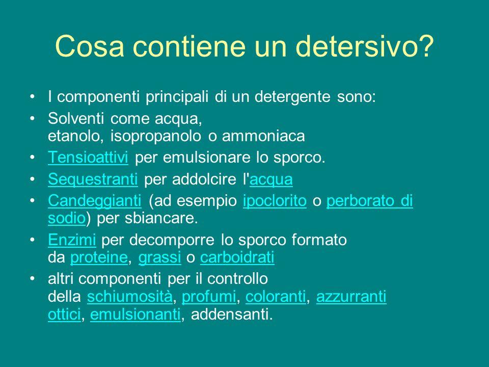 Cosa contiene un detersivo? I componenti principali di un detergente sono: Solventi come acqua, etanolo, isopropanolo o ammoniaca Tensioattivi per emu