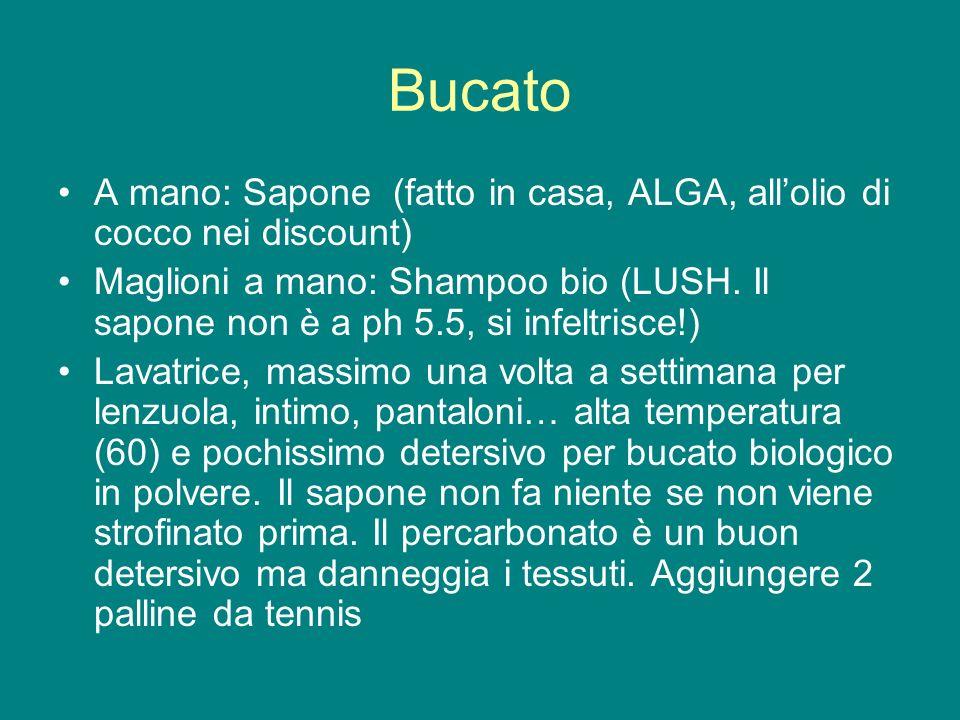 Bucato A mano: Sapone (fatto in casa, ALGA, allolio di cocco nei discount) Maglioni a mano: Shampoo bio (LUSH. Il sapone non è a ph 5.5, si infeltrisc