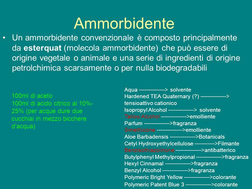 Ammorbidente Un ammorbidente convenzionale è composto principalmente da esterquat (molecola ammorbidente) che può essere di origine vegetale o animale