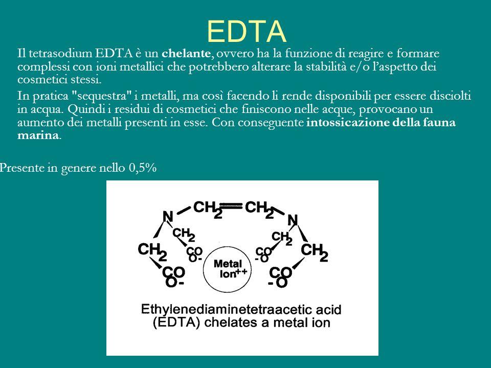 EDTA Il tetrasodium EDTA è un chelante, ovvero ha la funzione di reagire e formare complessi con ioni metallici che potrebbero alterare la stabilità e
