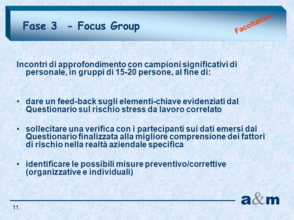 Fase 3 - Focus Group a&ma&m Incontri di approfondimento con campioni significativi di personale, in gruppi di 15-20 persone, al fine di: dare un feed-