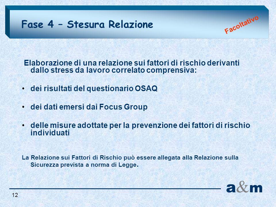 Fase 4 – Stesura Relazione Facoltativo Elaborazione di una relazione sui fattori di rischio derivanti dallo stress da lavoro correlato comprensiva: de