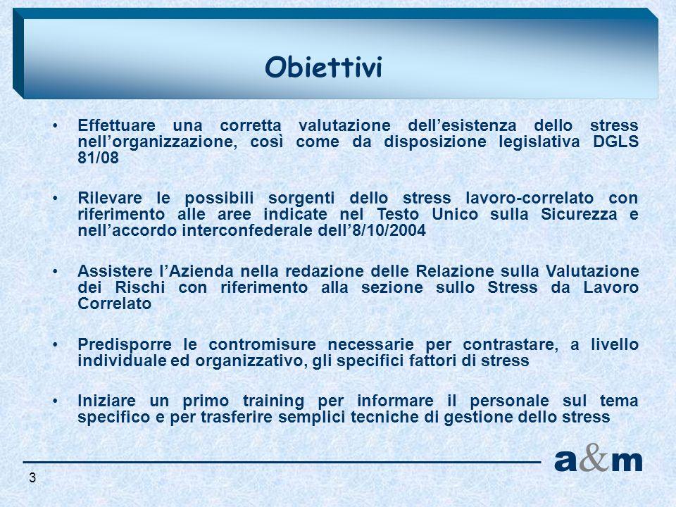 a&ma&m Obiettivi Effettuare una corretta valutazione dellesistenza dello stress nellorganizzazione, così come da disposizione legislativa DGLS 81/08 R