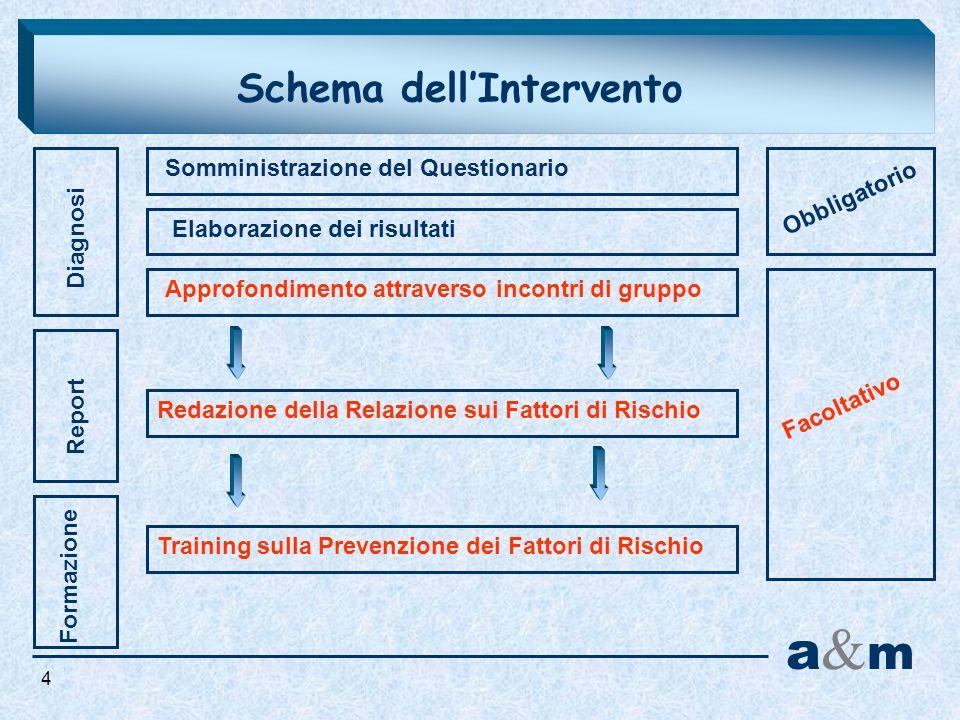 Schema dellIntervento Diagnosi Report a&ma&m Formazione Somministrazione del Questionario Elaborazione dei risultati Approfondimento attraverso incont