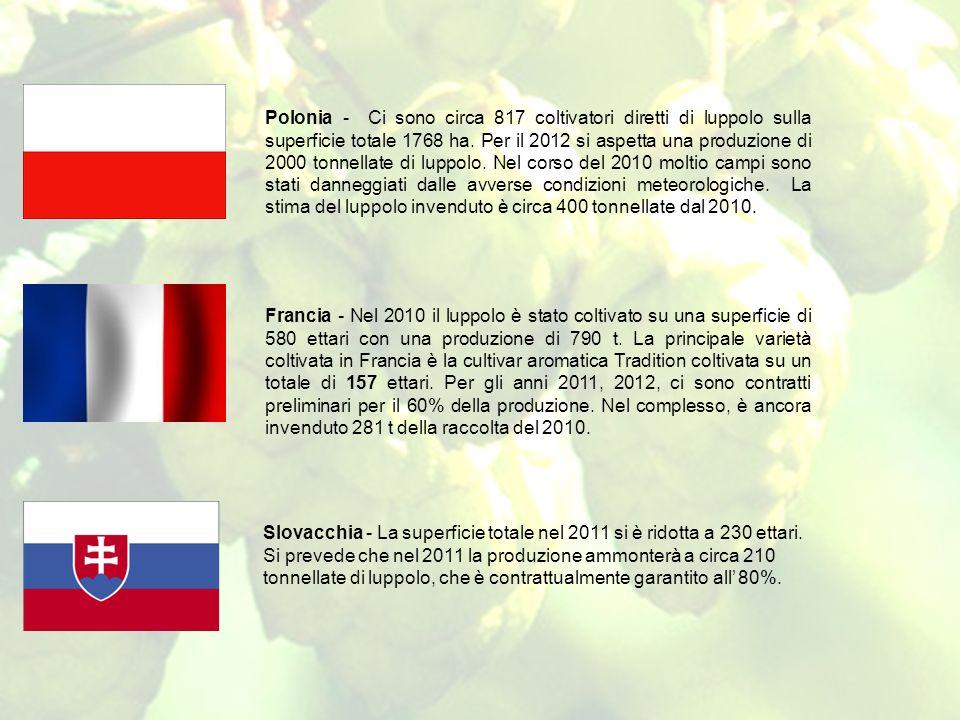 Polonia - Ci sono circa 817 coltivatori diretti di luppolo sulla superficie totale 1768 ha. Per il 2012 si aspetta una produzione di 2000 tonnellate d