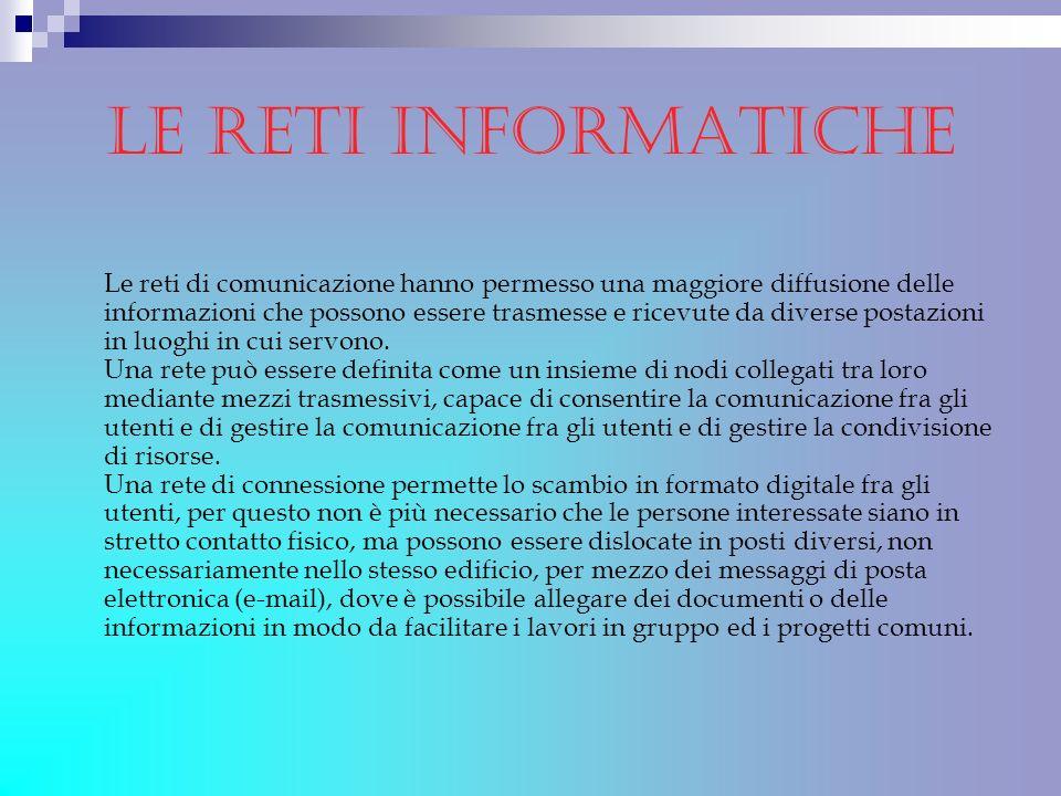 le reti informatiche Le reti di comunicazione hanno permesso una maggiore diffusione delle informazioni che possono essere trasmesse e ricevute da div
