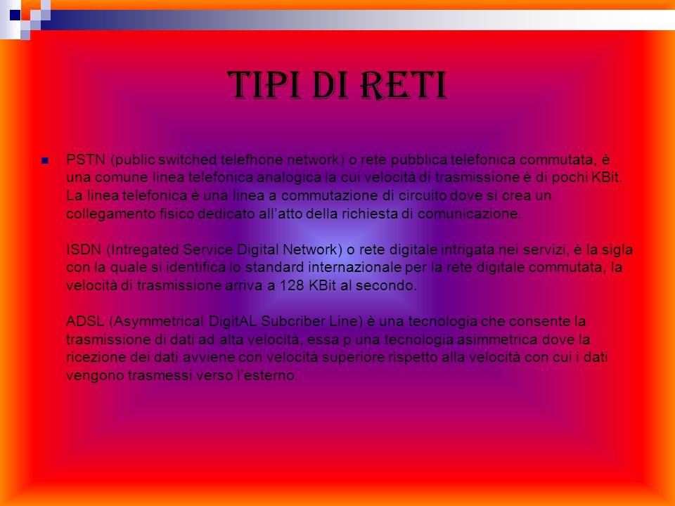 TIPI DI RETI PSTN (public switched telefhone network) o rete pubblica telefonica commutata, è una comune linea telefonica analogica la cui velocità di