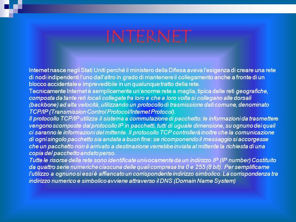 INTERNET Internet nasce negli Stati Uniti perché il ministero della Difesa aveva lesigenza di creare una rete di nodi indipendenti luno dallaltro in g