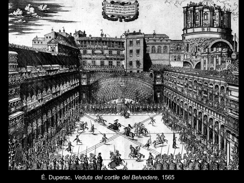 É. Duperac, Veduta del cortile del Belvedere, 1565