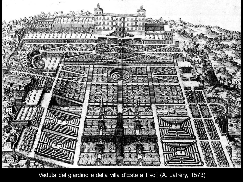 Veduta del giardino e della villa dEste a Tivoli (A. Lafréry, 1573)