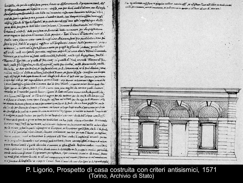 P. Ligorio, Prospetto di casa costruita con criteri antisismici, 1571 (Torino, Archivio di Stato)