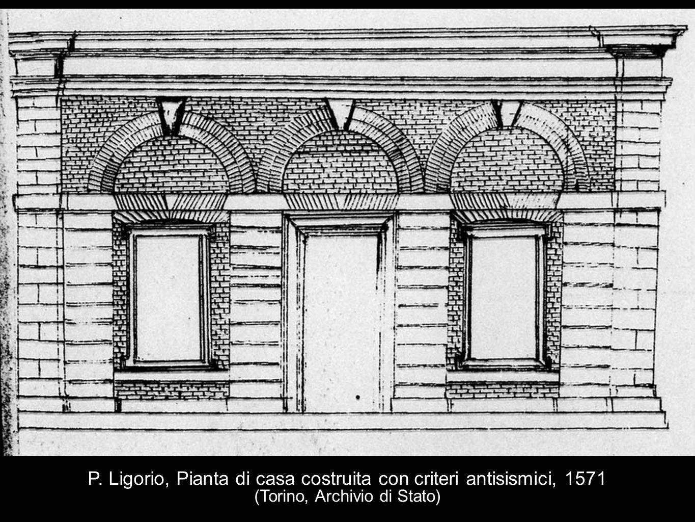 P. Ligorio, Pianta di casa costruita con criteri antisismici, 1571 (Torino, Archivio di Stato)