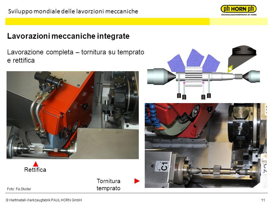 © Hartmetall-Werkzeugfabrik PAUL HORN GmbH11 Sviluppo mondiale delle lavorzioni meccaniche Lavorazioni meccaniche integrate Foto: Fa.Studer Lavorazion