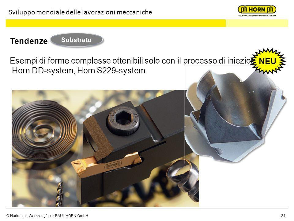 © Hartmetall-Werkzeugfabrik PAUL HORN GmbH 21 Tendenze Esempi di forme complesse ottenibili solo con il processo di iniezione Horn DD-system, Horn S22