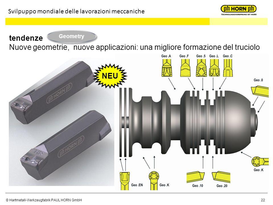© Hartmetall-Werkzeugfabrik PAUL HORN GmbH 22 tendenze Nuove geometrie, nuove applicazioni: una migliore formazione del truciolo Svilpuppo mondiale de