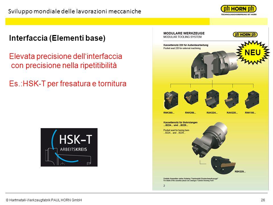© Hartmetall-Werkzeugfabrik PAUL HORN GmbH 26 Interfaccia (Elementi base) Elevata precisione dellinterfaccia con precisione nella ripetitibilità Es.:H