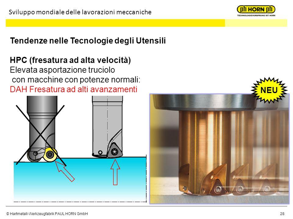 © Hartmetall-Werkzeugfabrik PAUL HORN GmbH 28 Tendenze nelle Tecnologie degli Utensili HPC (fresatura ad alta velocità) Elevata asportazione truciolo