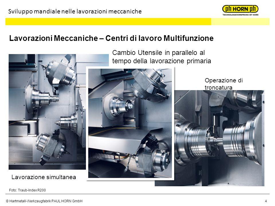© Hartmetall-Werkzeugfabrik PAUL HORN GmbH5 Sviluppo mondiale nelle lavorazioni meccaniche Concezione della macchina utensile Tornio automatico a fantina mobile Boccola di guida Foto: Traub TNL18