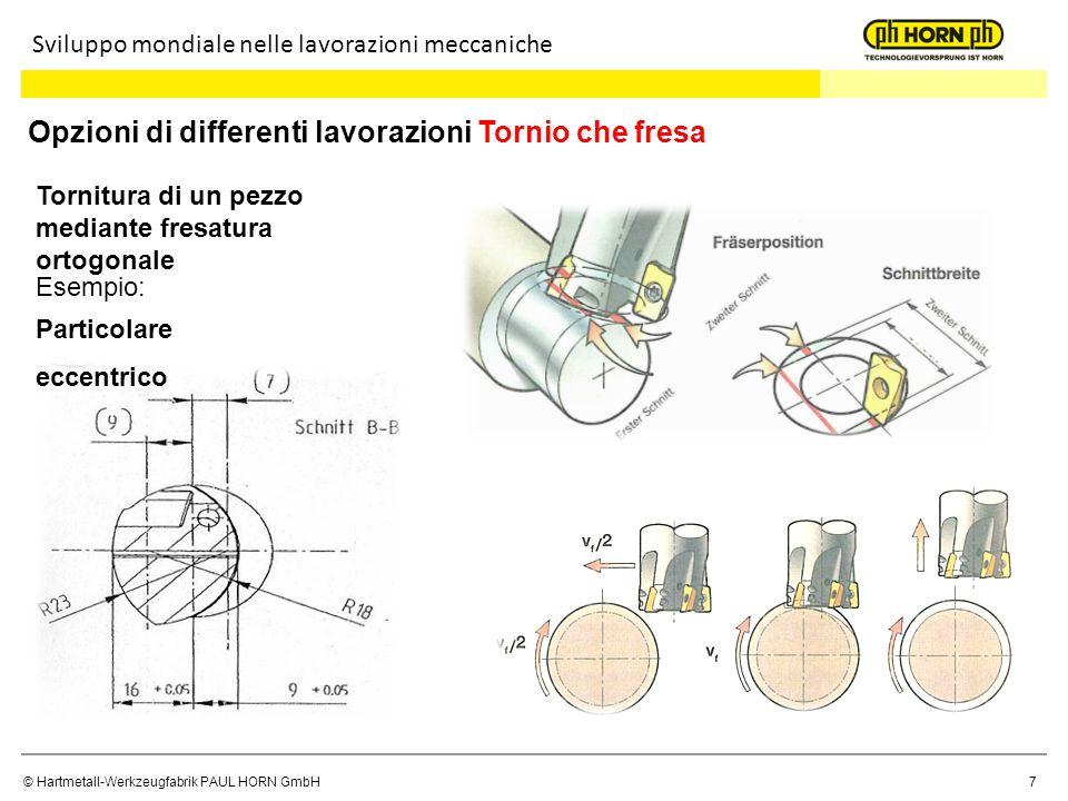 © Hartmetall-Werkzeugfabrik PAUL HORN GmbH7 Sviluppo mondiale nelle lavorazioni meccaniche Opzioni di differenti lavorazioni Tornio che fresa Tornitur