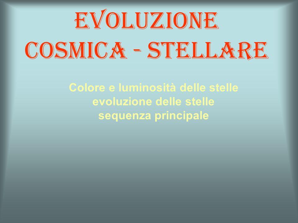 Evoluzione cosmica - stellare Colore e luminosità delle stelle evoluzione delle stelle sequenza principale