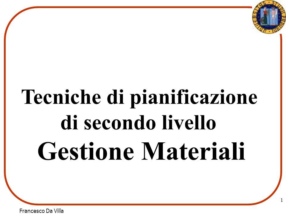 Francesco Da Villa 1 Tecniche di pianificazione di secondo livello Gestione Materiali