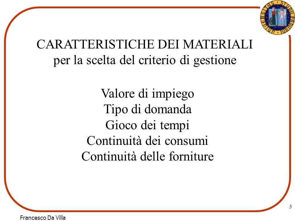 Francesco Da Villa 3 CARATTERISTICHE DEI MATERIALI per la scelta del criterio di gestione Valore di impiego Tipo di domanda Gioco dei tempi Continuità