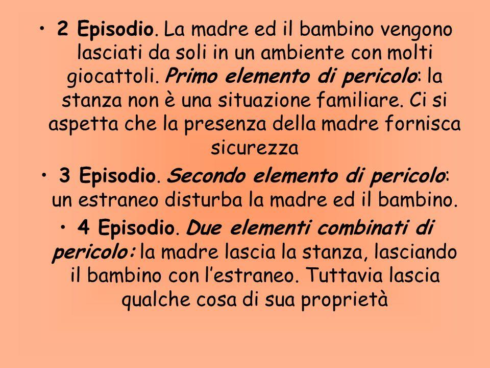 La procedura: Sequenza di 8 episodi che si susseguono Tuttavia, se il bambino in uno qualunque degli episodi appare fortemente stressato, lepisodio vi